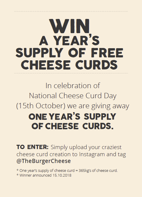 Win a year's supply of free cheese curds